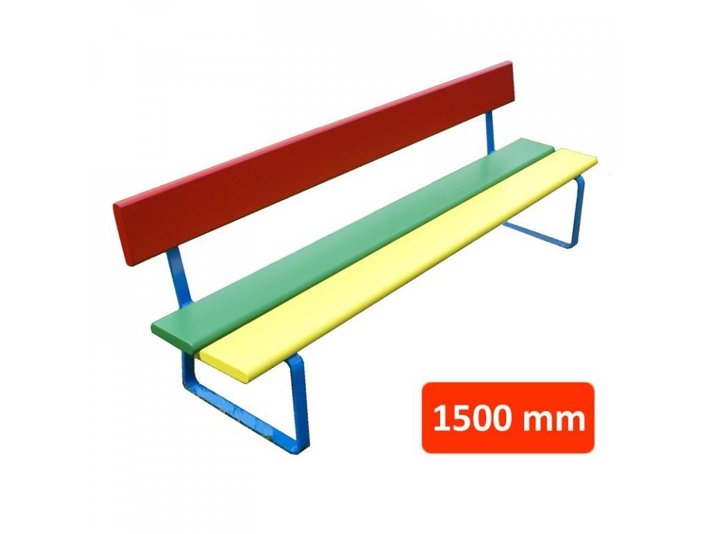 Dětská lavička N1 s opěradlem, šířka 1500 mm