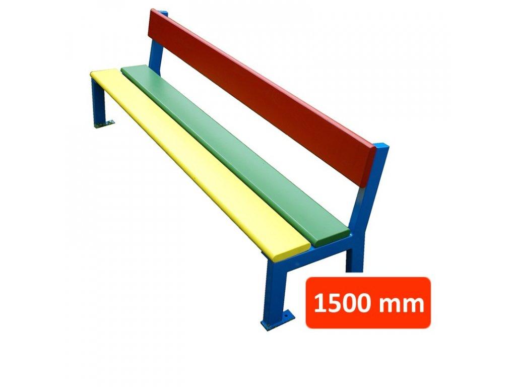 Dětská lavička BJ s opěradlem, šířka 1500 mm