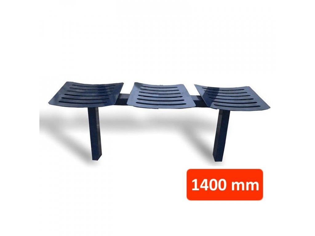 Kovová lavička CSE, 3 sedadla, šířka 1400 mm