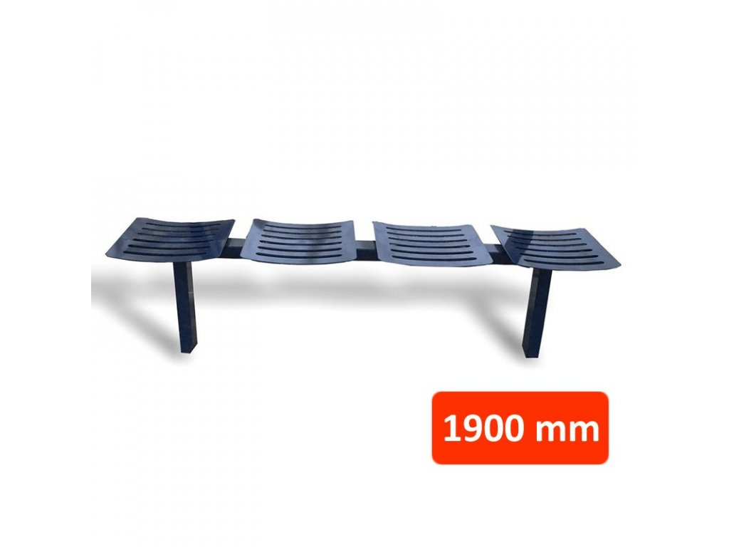 Kovová lavička CSE, 4 sedadla, šířka 1900 mm