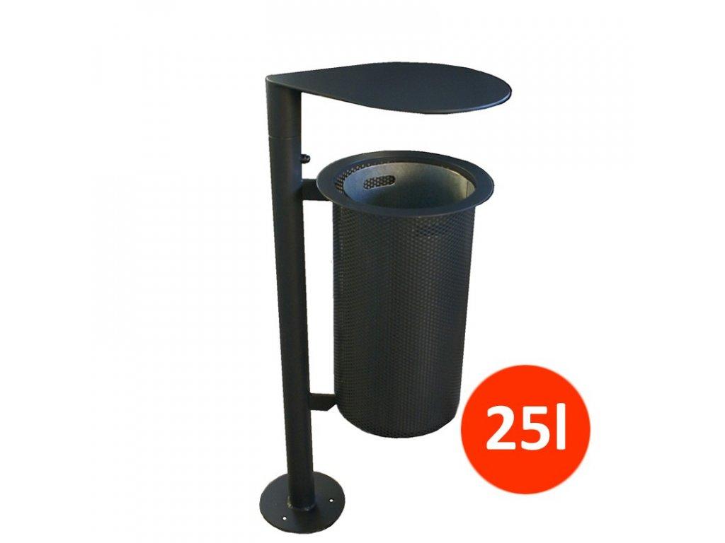 Venkovní odpadkový koš PF se stříškou, 25 litrů