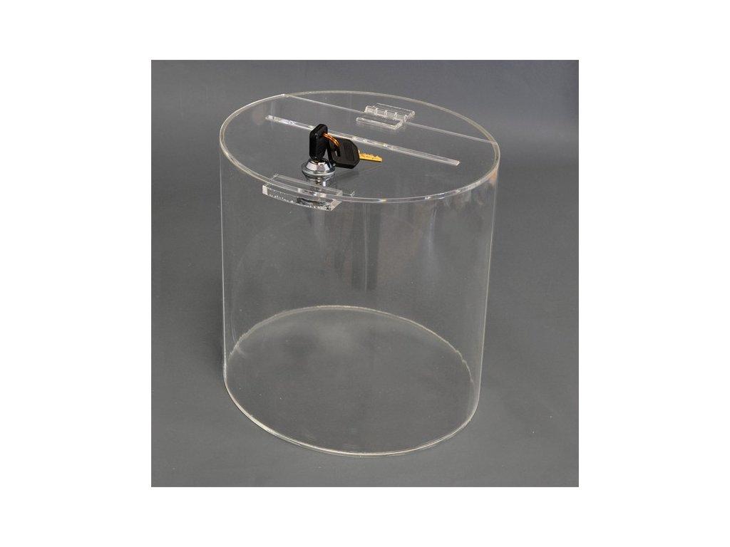 Box na losy a vizitky - válec 150x165 mm, uzamykatelný