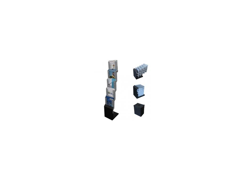 Mobilní skládací stojan na katalogy A4, 5x kapsa