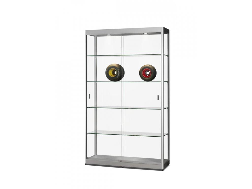 Skleněná vitrína 1200x2000x400 mm, s LED osvětlením, posuvné dveře
