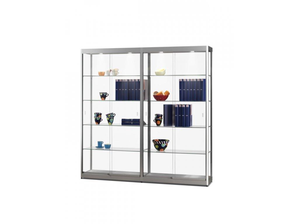 Skleněná vitrína 1976x2000x400 mm, s LED osvětlením, posuvné dveře