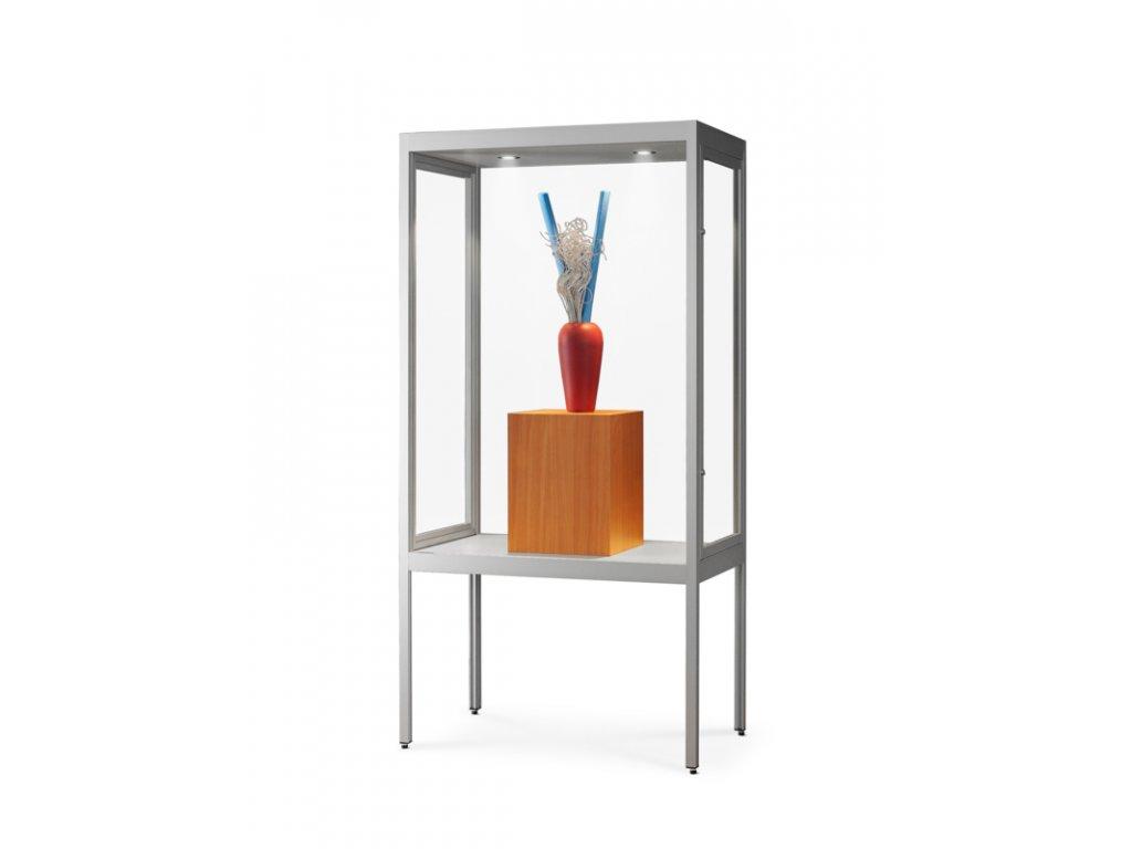 Prachotěsná skleněná vitrína 1000x1972x400 mm s nohami, LED osvětlení