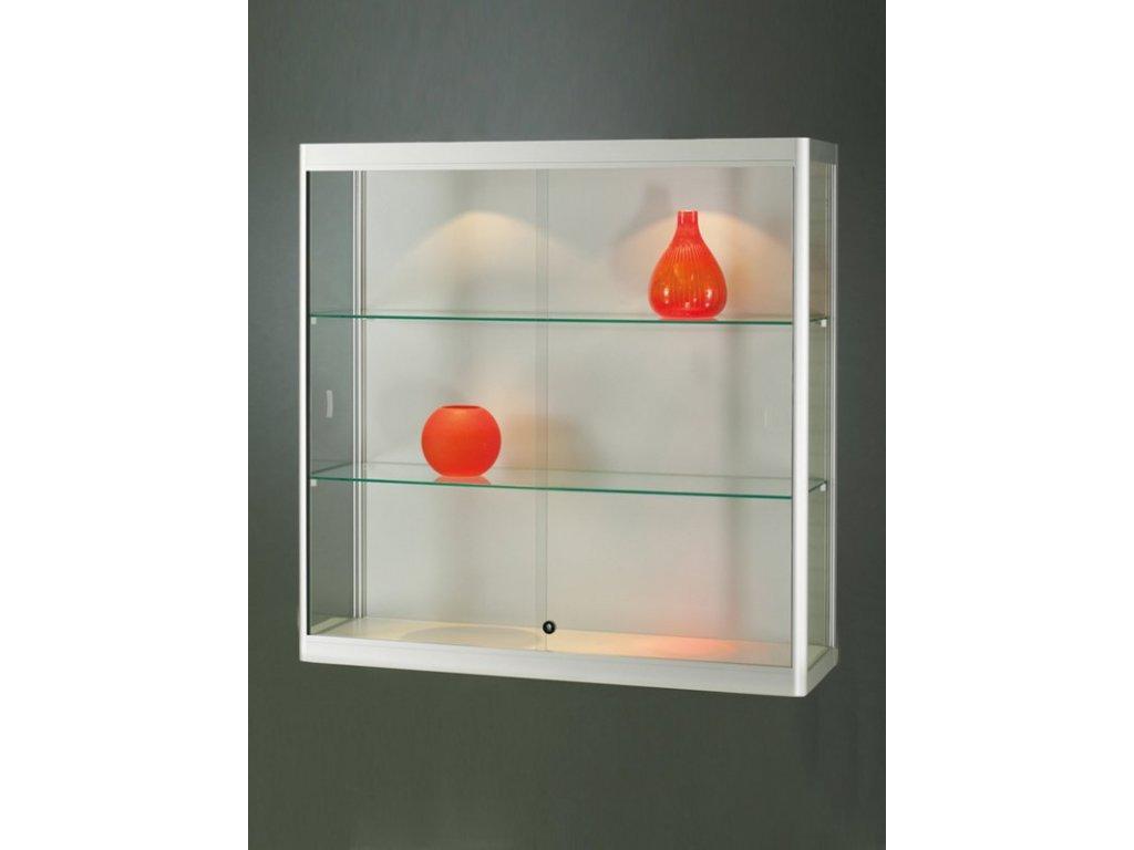 Nástěnná skleněná vitrína 1000x1000x300 mm, s LED osvětlením