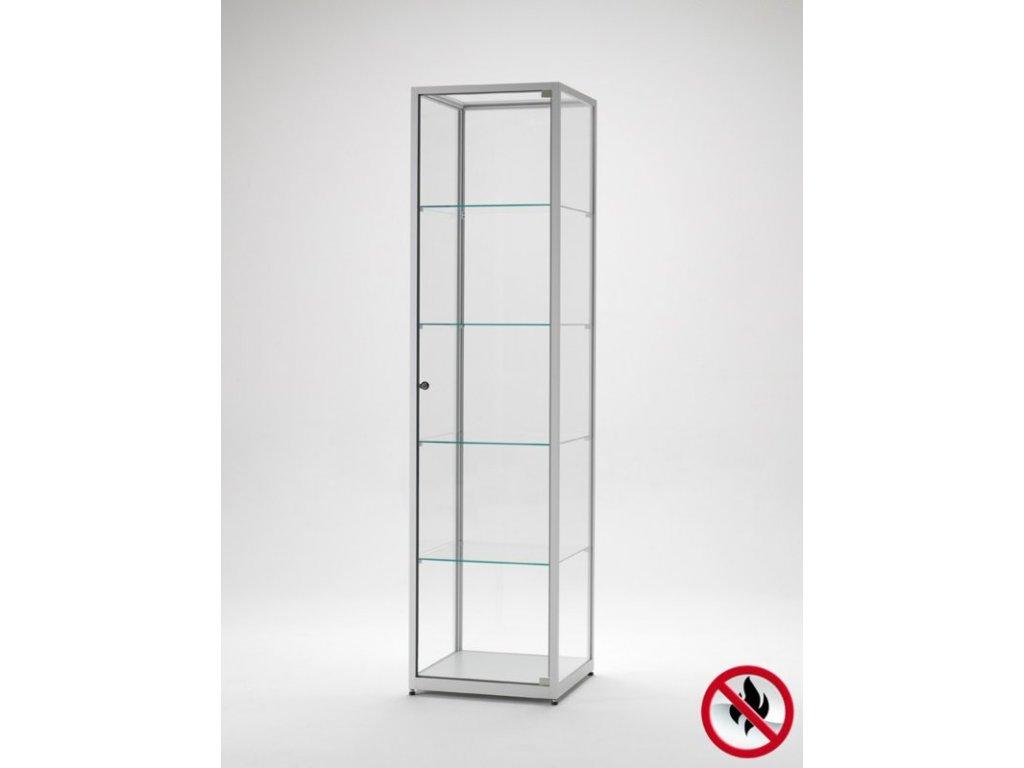 Skleněná vitrína 500x1984x500 mm, atest B1