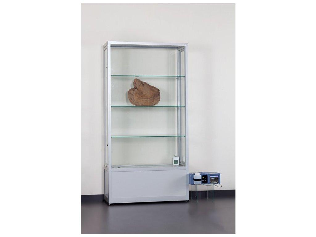 Skleněná vitrína 1000x1972x400 mm s úložným prostorem a jednotkou pro kontrolu vlhkosti