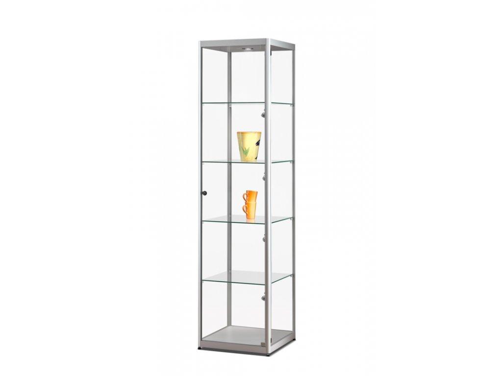 Skleněná vitrína 500x2000x500 mm, boční a stropní LED osvětlení