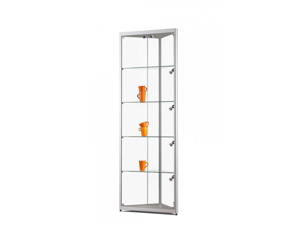 Rohová skleněná vitrína 500x2000x500 mm, boční a stropní LED osvětlení