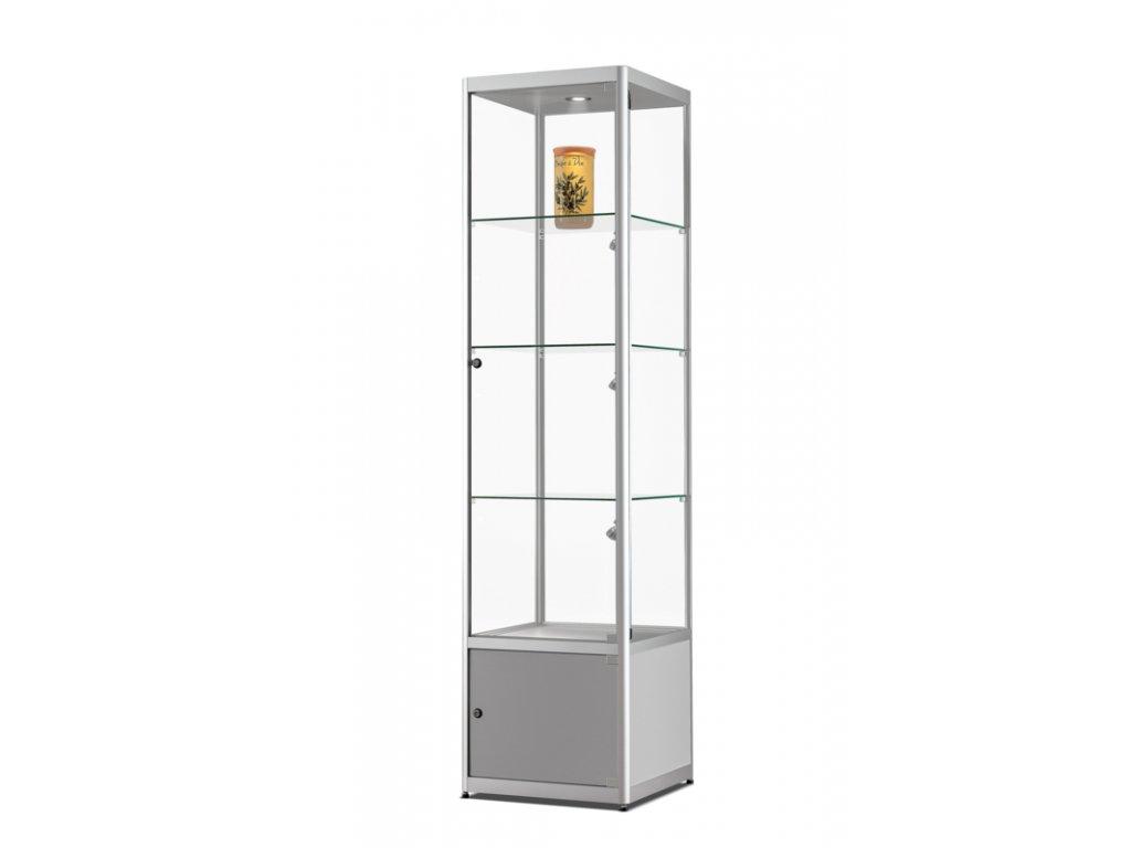Skleněná vitrína 500x2000x500 mm s úložným prostorem, boční a stropní LED osvětlení