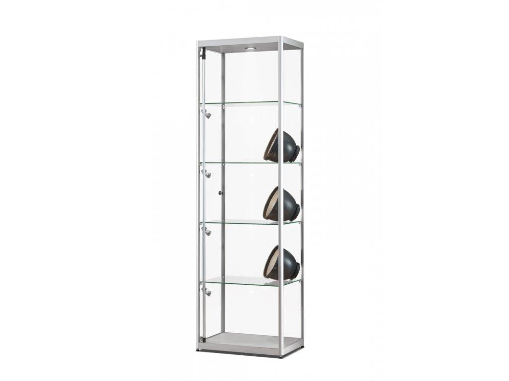 Skleněná vitrína 600x2000x400 mm, boční a stropní LED osvětlení