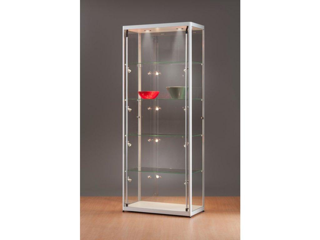 Skleněná vitrína 800x2000x400 mm, boční a stropní LED osvětlení