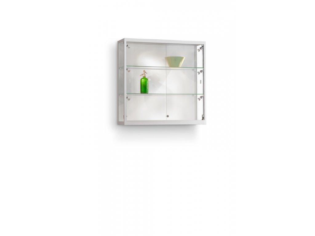 Nástěnná skleněná vitrína 1000x984x300 mm, boční LED osvětlení