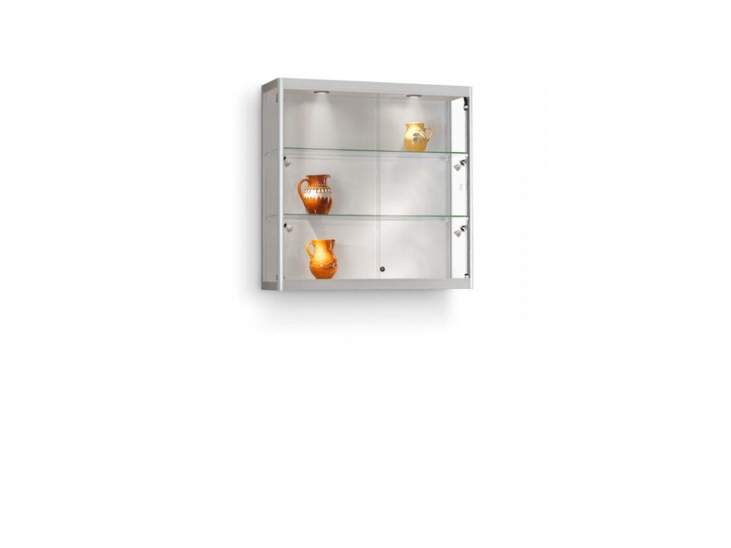 Nástěnná skleněná vitrína 1000x984x300 mm, boční a stropní LED osvětlení