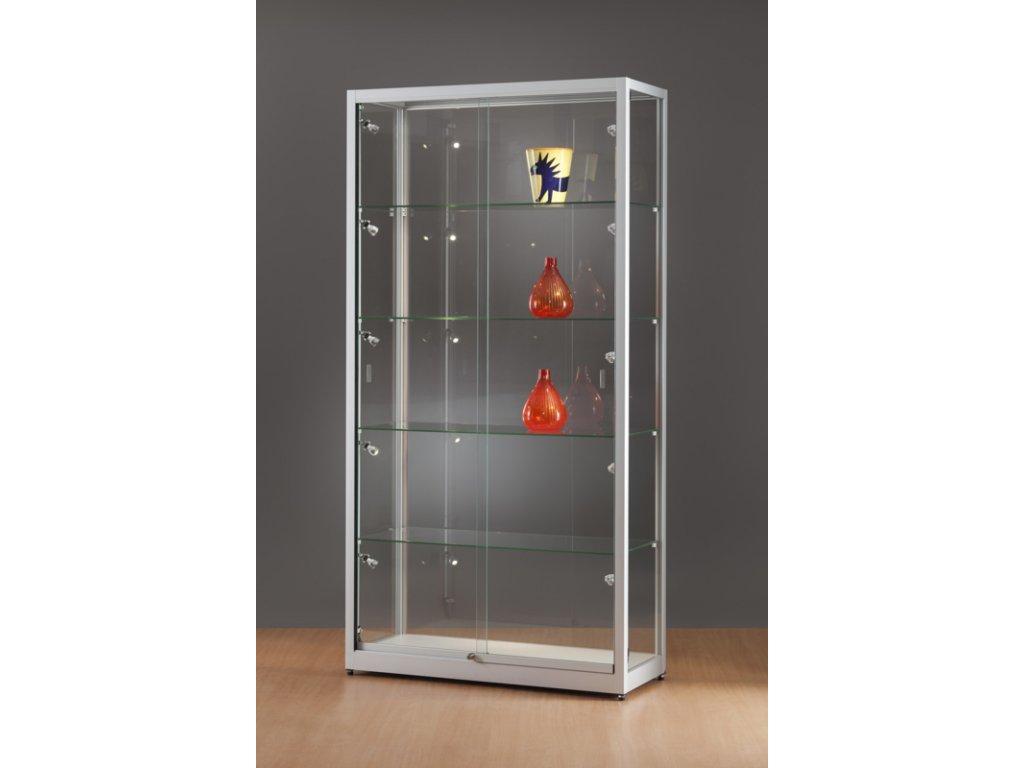 Skleněná vitrína 1000x1984x400 mm, boční LED osvětlení