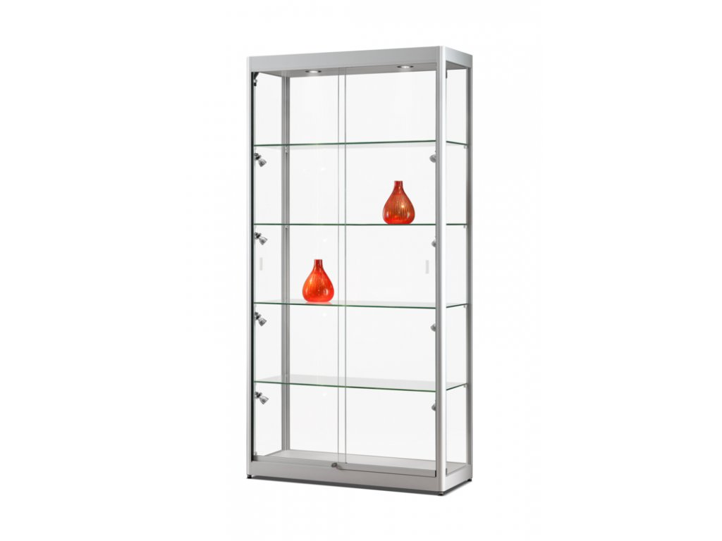 Skleněná vitrína 1000x2000x400 mm, boční a stropní LED osvětlení