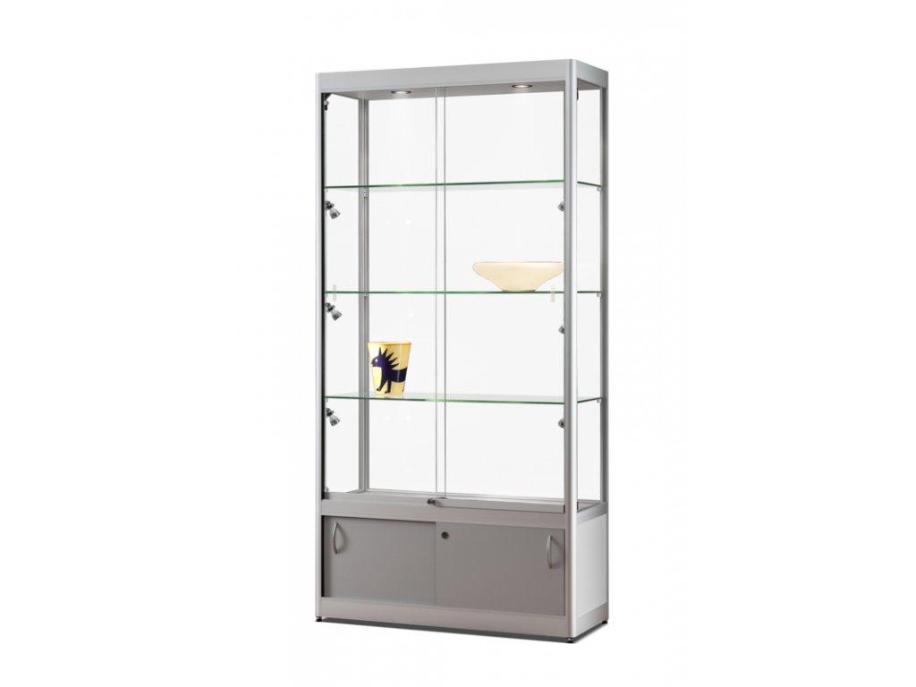 Skleněná vitrína 1000x1984x400 mm s úložným prostorem, boční LED osvětlení