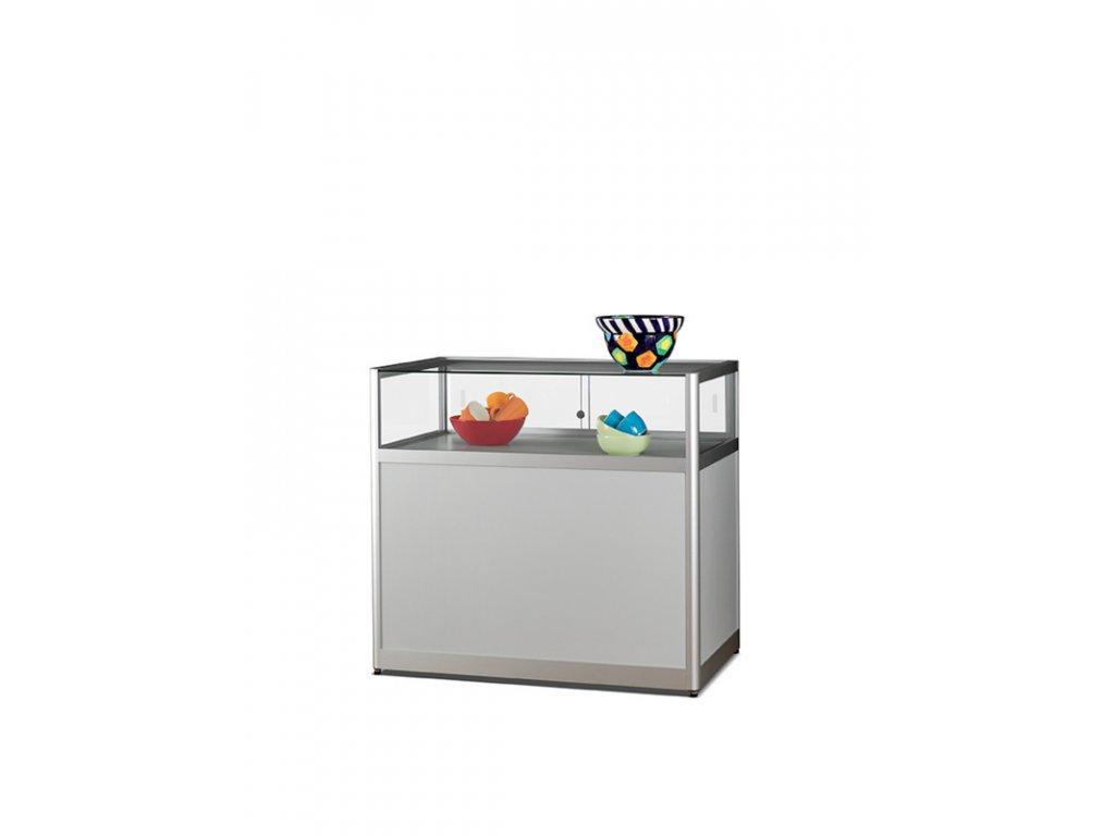 Stolní prosklená vitrína s úložným prostorem 1000x920x600 mm