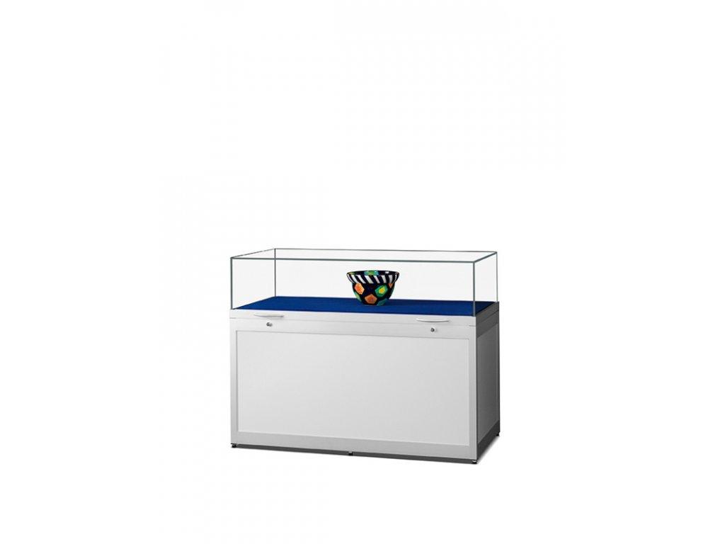 Pultová vitrína s výklopným sklem a soklem 1000x920x600 mm