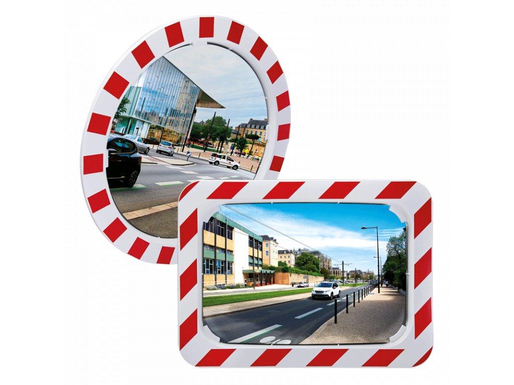 Nerozbitné dopravní zrcadlo s červenobílým rámem, Polymir