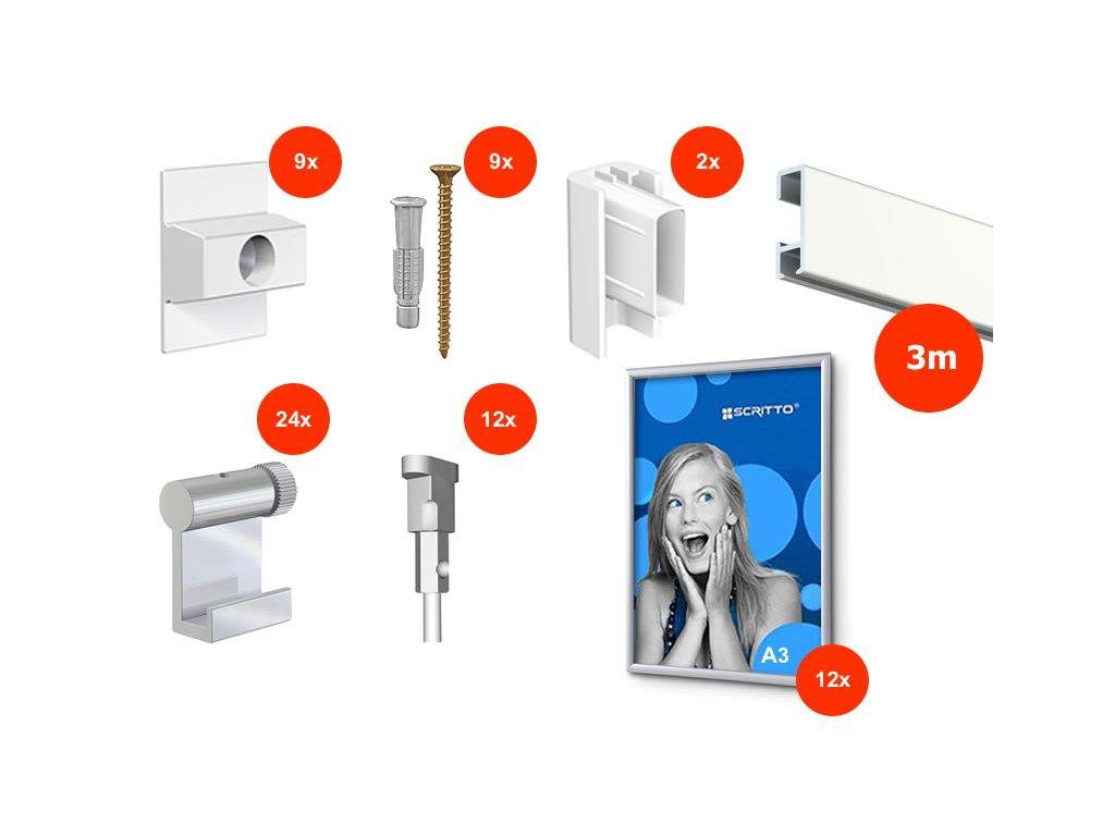 Nástěnný set na obrázky - Click Rail 3m, bílý + 12x A3 hliníkový rámeček včetně háčků a lanek AR.500.004