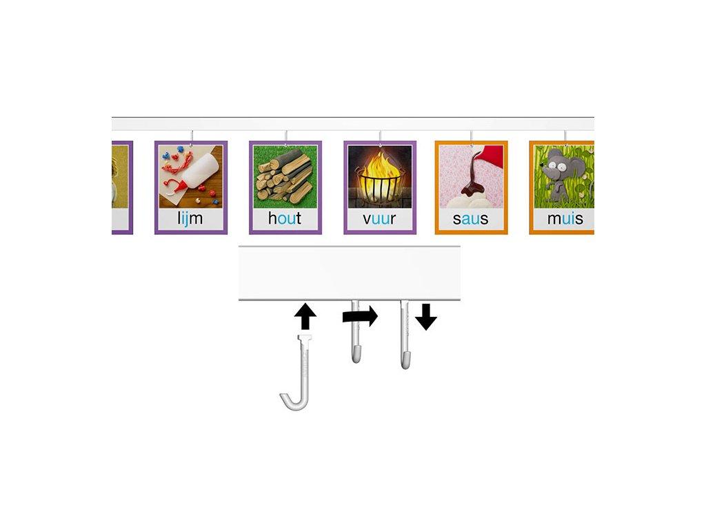 Nástěnný set na obrázky - Click Rail 3m, bílý + 25x háček Twister Hook