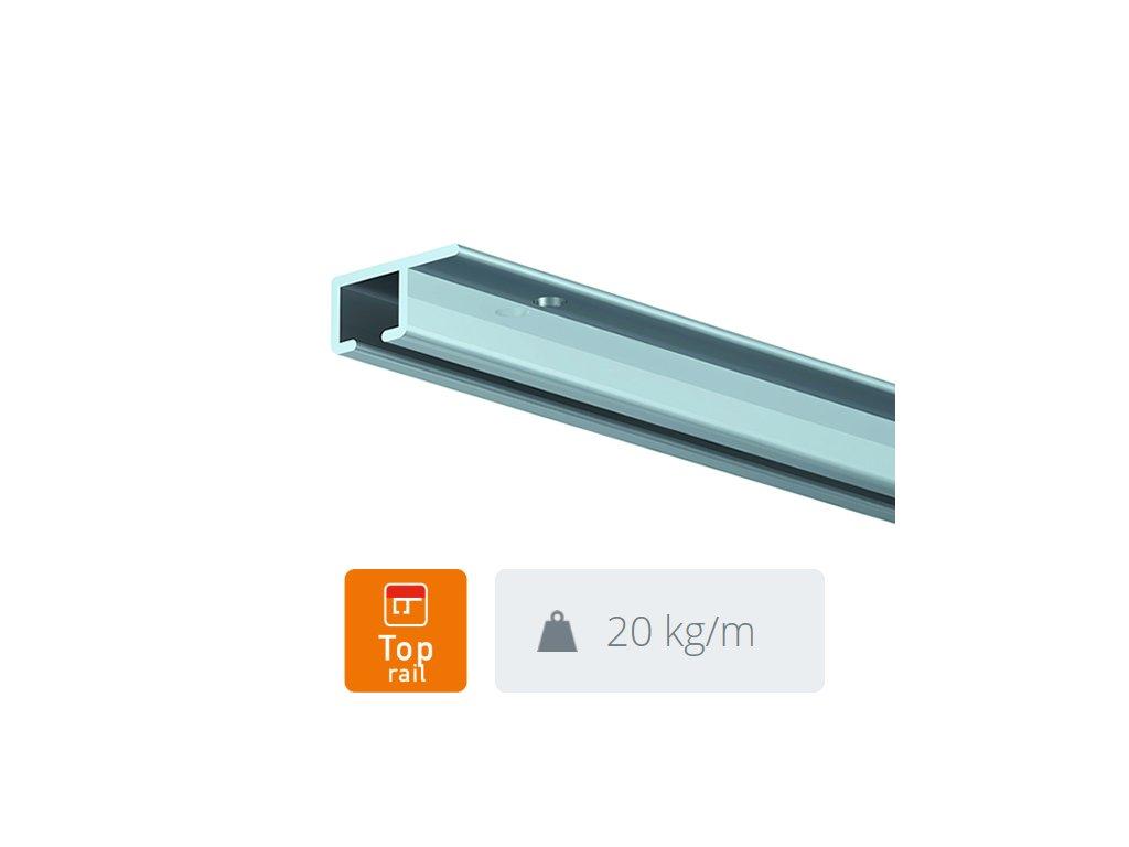 Stropní závěsná lišta Top Rail, přírodní hliník - 300 cm