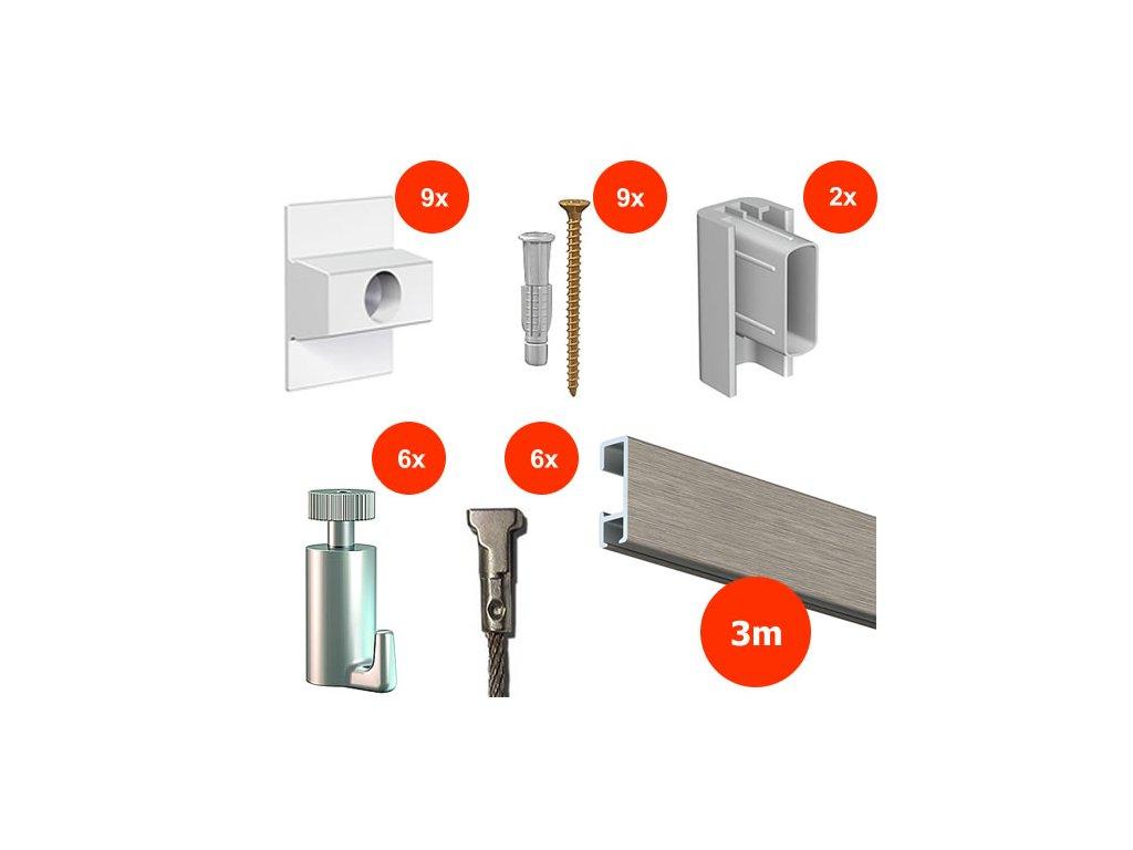 Nástěnný set na obrázky - Click Rail 3m, hliníkový + 6x ocelové lanko včetně háčků