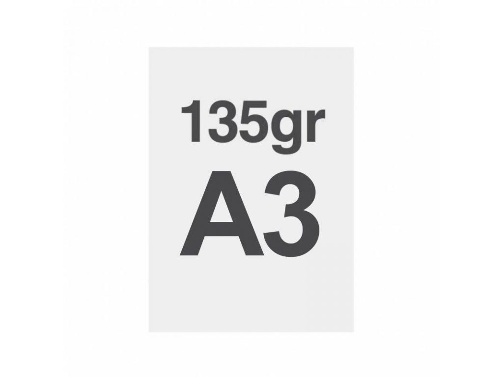 A3 tisk na prémiový papír 135g/m2, satinovaný povrch LPPA3S135