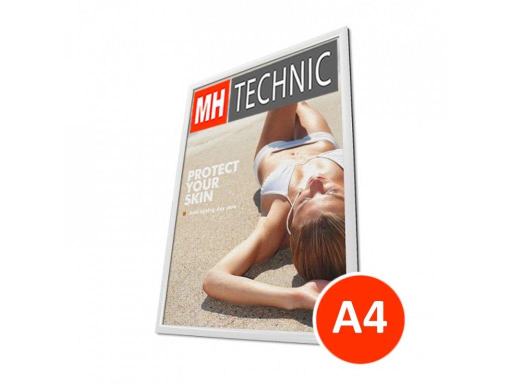 Klaprám A4, bílá barva, ostrý roh, profil 25 mm