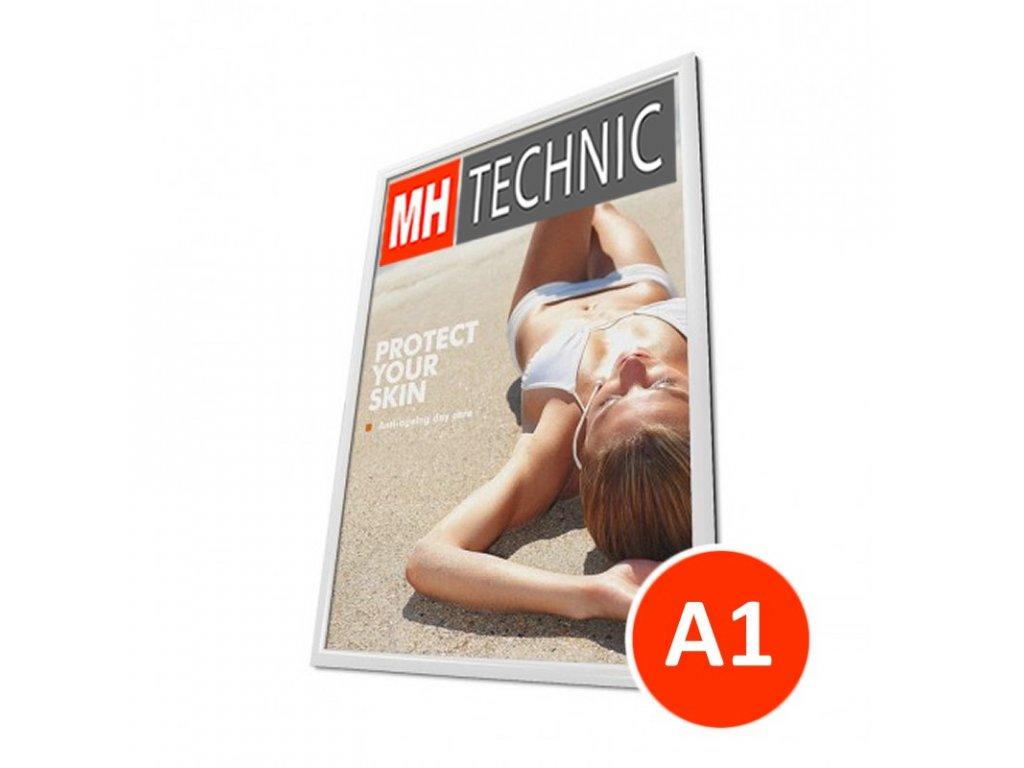 Klaprám A1, bílá barva, ostrý roh, profil 25 mm