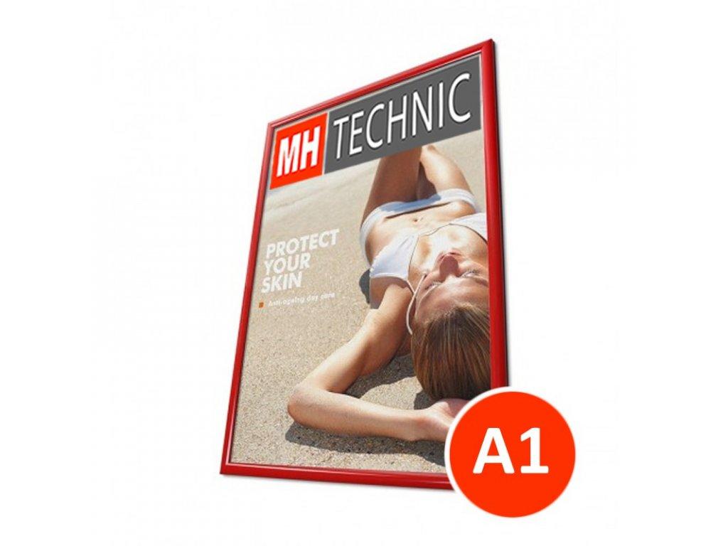 Klaprám A1, červená barva, ostrý roh, profil 25 mm