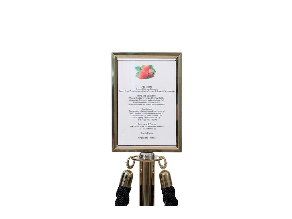 Cedule A4 pro bariérový sloupek s provazem (Provedení sloupku leštěná ocel (nerez))