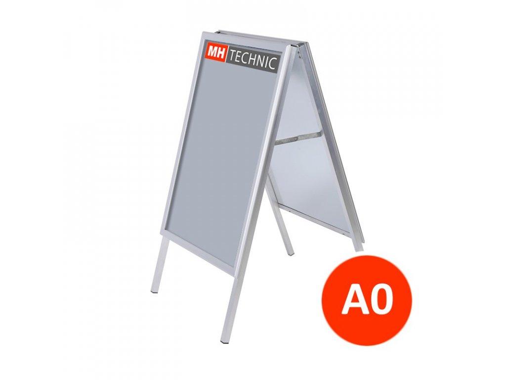 Reklamní áčko A0, ostrý roh, profil 32 mm, kovová záda