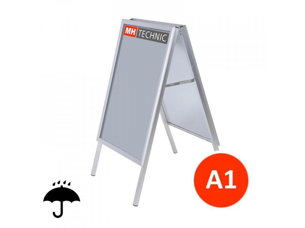 Venkovní reklamní áčko A1, ostrý roh, profil 25 mm