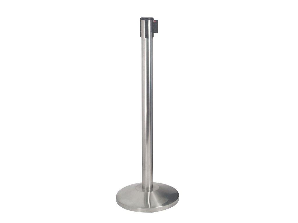 Bariérový sloupek s flexi pásem délky 3m, kartáčovaná ocel, kónická základna, různé barvy pásu STOP51