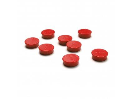 Sada magnetek, červená barva, průměr 20 mm