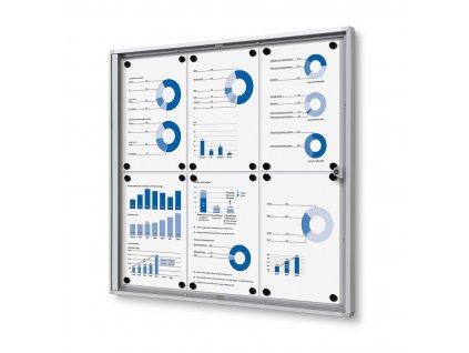 SCXS6xA4 - Interiérová vitrína Economy 6xA4 - plechová záda