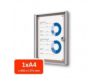 Vitrína XS interiérová s korkovými zády 1xA4