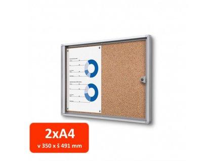 Vitrína XS interiérová s korkovými zády 2xA4