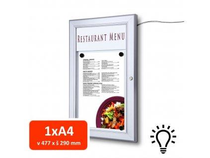 Venkovní menu vitrína SC Z 1xA4, LED osvětlení