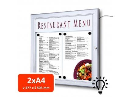 Venkovní menu vitrína SC Z 2xA4, LED osvětlení
