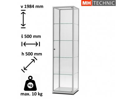 Skleněná vitrína VE 500x1984x500 mm, stříbrná, bez osvětlení