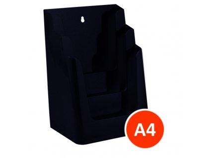 Stolní stojánek na letáky 3xA4, černý, balení 8ks