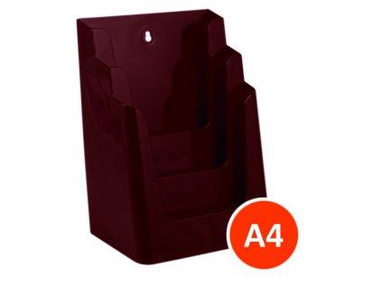 Stolní stojánek na letáky 3xA4, bordó, balení 8ks