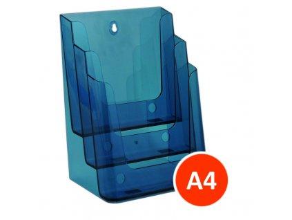 Stolní stojánek na letáky 3xA4, tónovaný modrý, balení 8ks