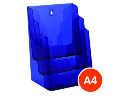 Stolní stojánek na letáky 3xA4, tónovaný fialový