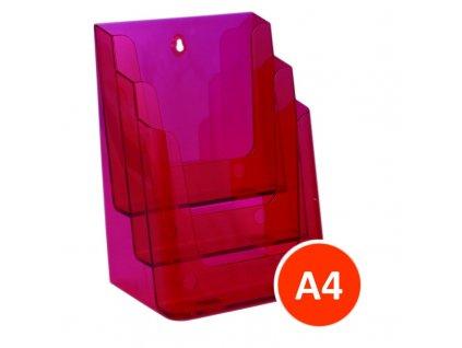 Stolní stojánek na letáky 3xA4, tónovaný červený
